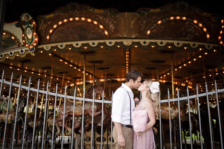 Engaged Couple at the Carousel at Griffith Park