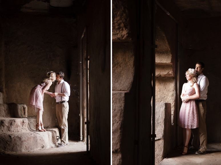 Engagement Photo of Couple at the Old Zoo at Griffith Park
