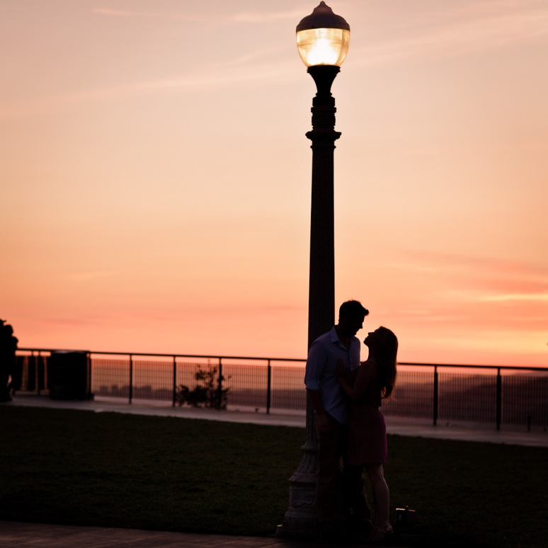 Engagement Photo of Couple at Sunset at Griffith Observatory