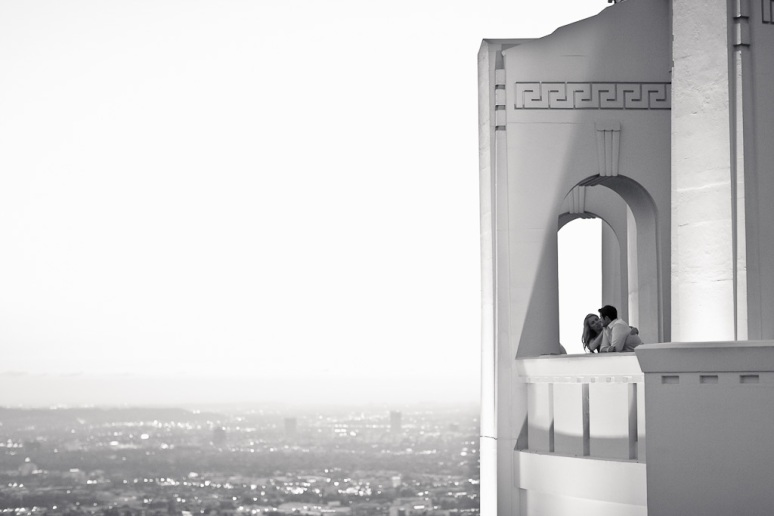 Engagement Photo of Couple at Griffith Observatory at Night