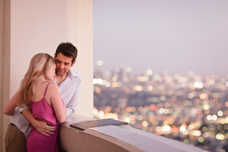 Engaged Couple at Griffith Observatory at Night