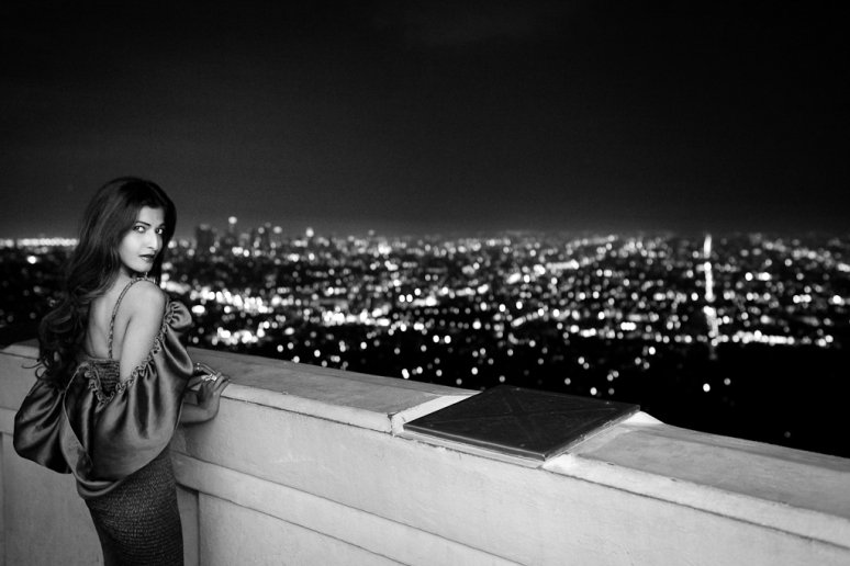 Miss India International 2011 Préity Üupala Griffith Observatory at Night Black & White