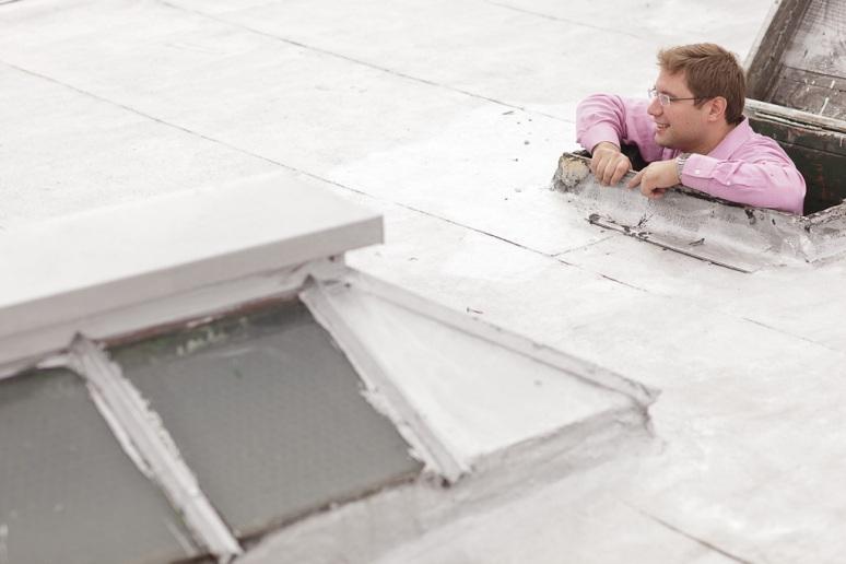 Brooklyn New York Wedding Photographer Groomsman on Roof