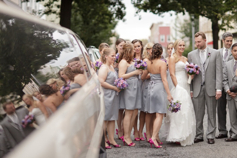 Brooklyn New York Wedding Photographer Wedding Party by Limo