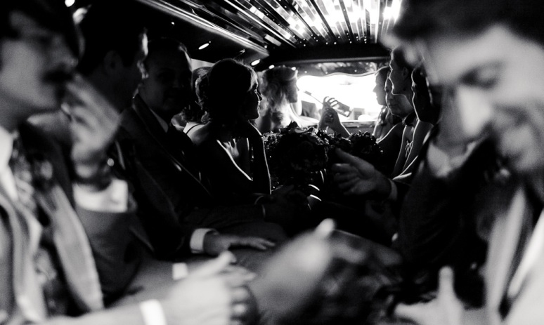 Brooklyn New York Wedding Photographer Wedding party in limo