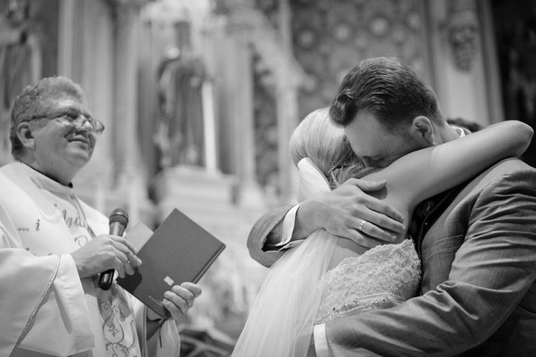 Brooklyn New York Wedding Photographer Manhattan Bridge Bride Hugging Groom