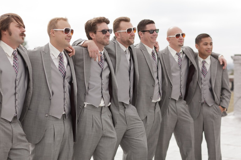 Brooklyn New York Wedding Photographer Groomsmen in Grey Suits