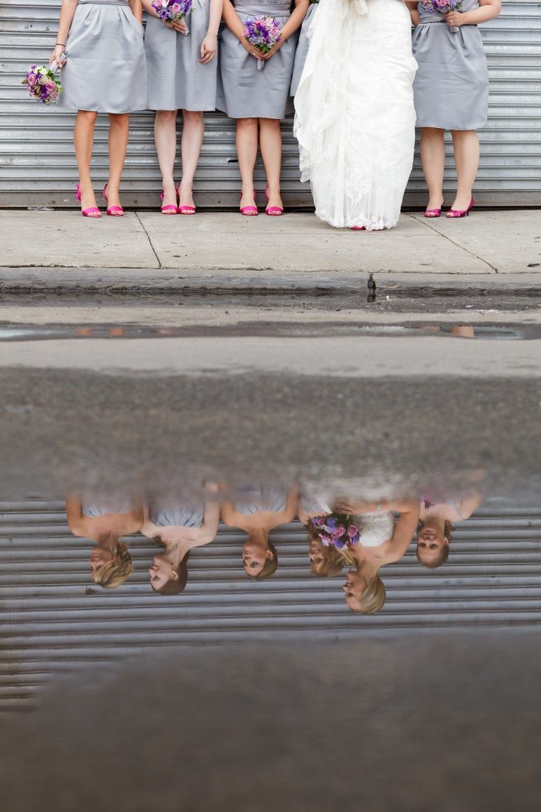 Brooklyn New York Wedding Photographer Manhattan Bridge Reflection of Bridesmaids