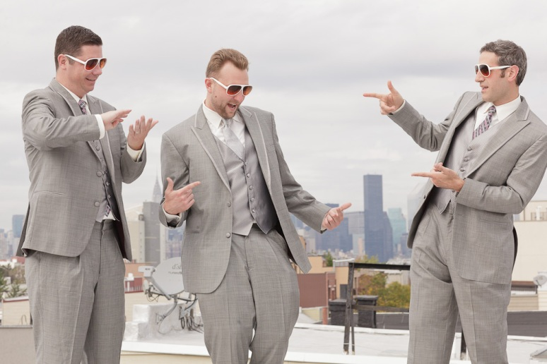 Brooklyn New York Wedding Photographer Groom and Groomsmen on Roof