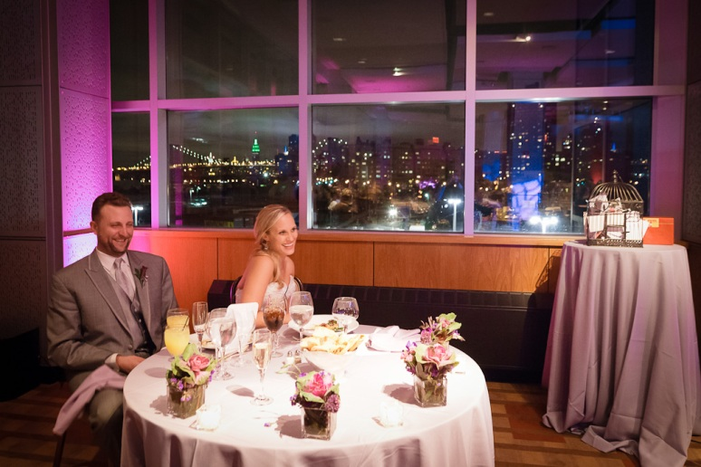 Brooklyn New York Wedding Photographer Stage 6 At Steiner Studios Bride and Groom at Table