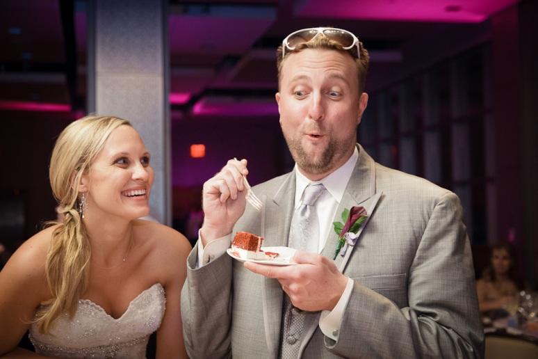 Brooklyn New York Wedding Photographer Stage 6 At Steiner Studios Bride & Groom Easting Cake