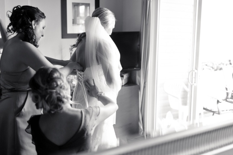 Brooklyn New York Wedding Photographer Bride Getting Dresses