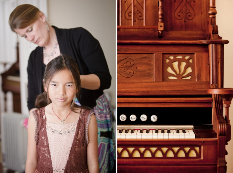 Chileno Valley Ranch Wedding Photographer Flower Girl glaring with a Piano