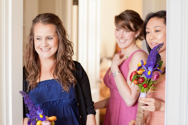 Chileno Valley Ranch Wedding Photographer Bridesmaids watching bride getting ready