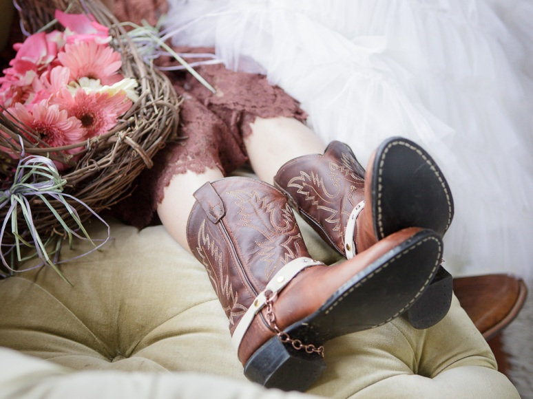 Chileno Valley Ranch Wedding Photographer Flower girl's Cowboy Boots