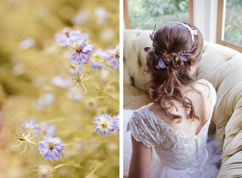 Chileno Valley Ranch Wedding Photographer Bride's Hair and Vintage Wedding Dress
