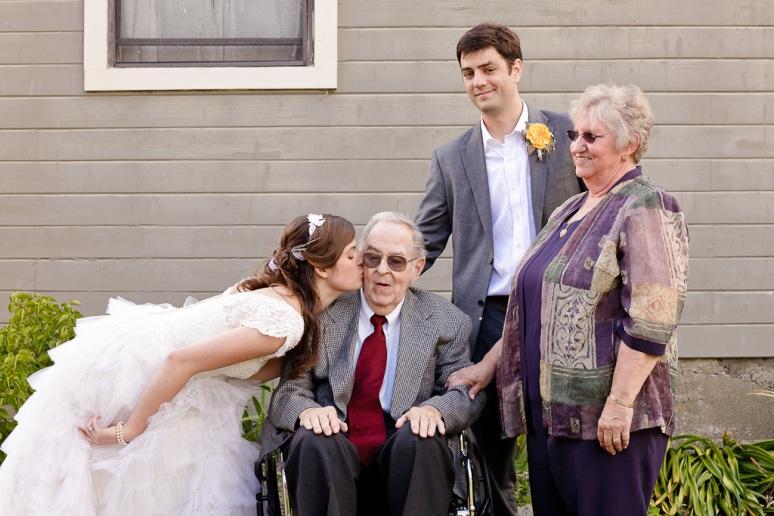 Sonoma wedding photographer bride kissing her grandfather