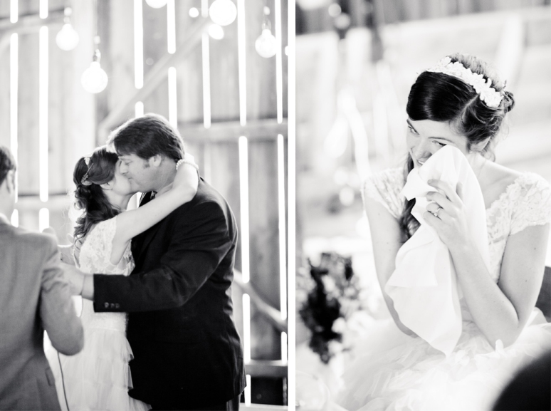 Bride hugging her father and crying during toasts at her wedding at Chileno Valley Ranch