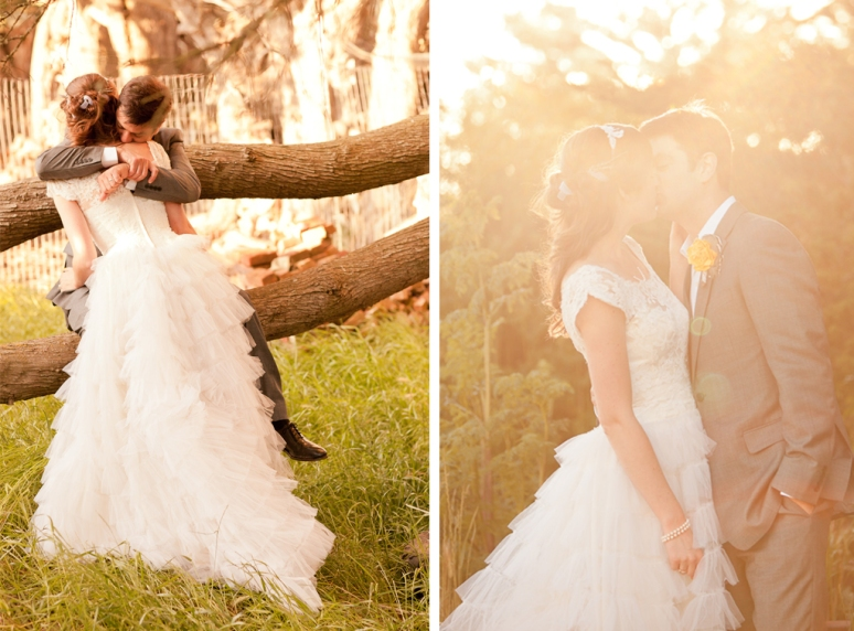 Rustic Vintage Wedding Photographer shot of couple hugging under trees
