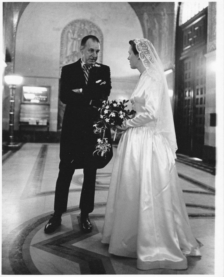 1970s Wedding Photograph of Bride and Her Father at the Saint Louis Cathedral