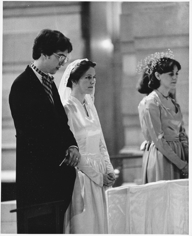 1970s Wedding Photograph of Bride and Groom at Altar the Saint Louis Cathedral