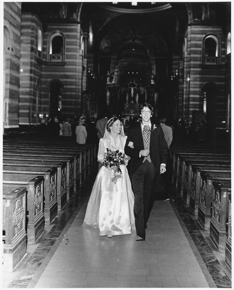 1970s Wedding Photograph of Bride and Groom at the Saint Louis Cathedral