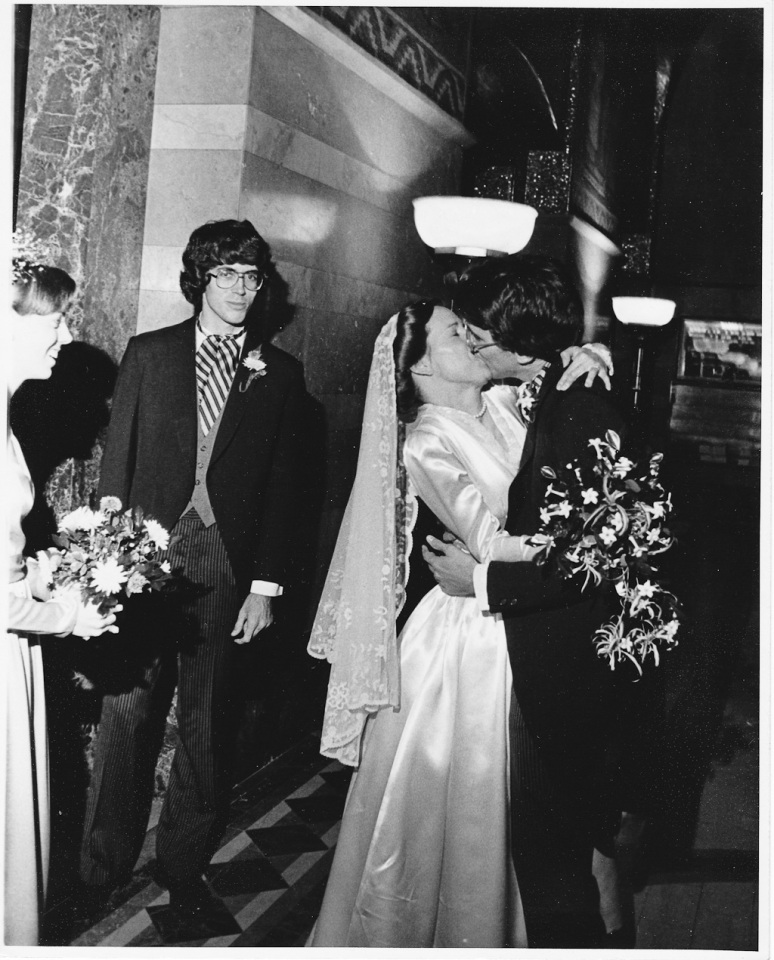 1970s Wedding Photograph of Bride and Groom Kissing