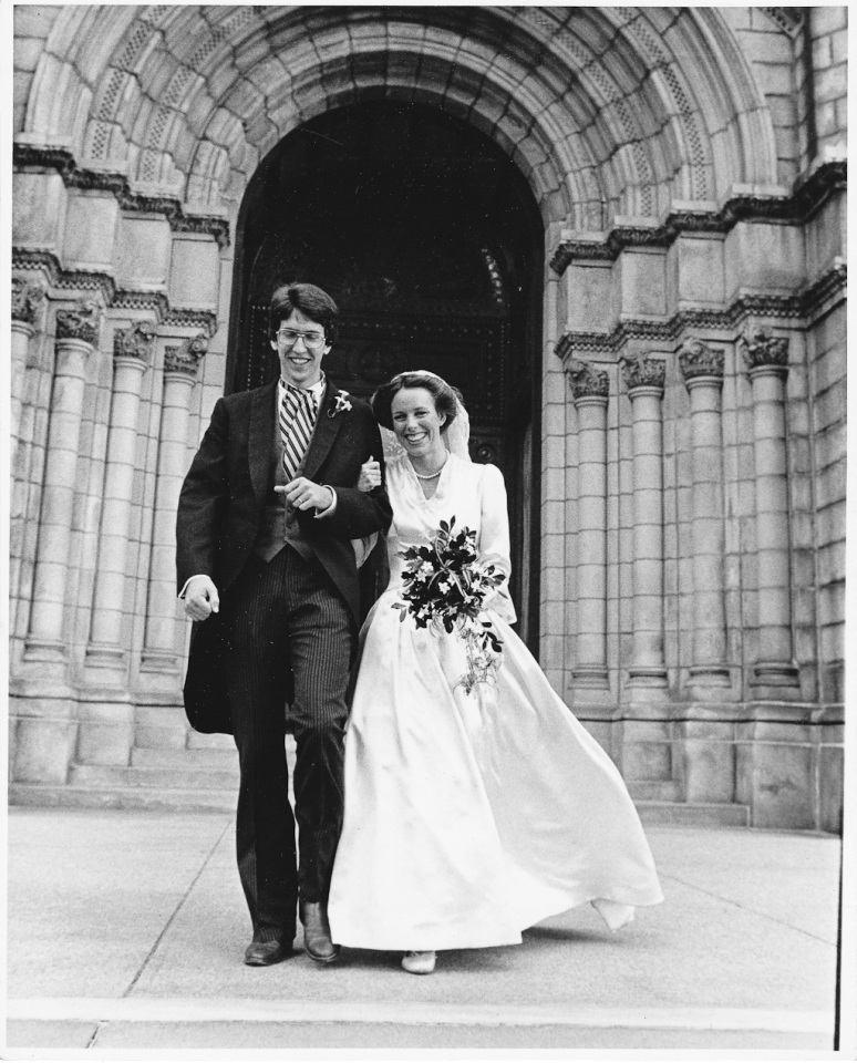 1970s Wedding Photograph of Bride and Groom Leaving the Church