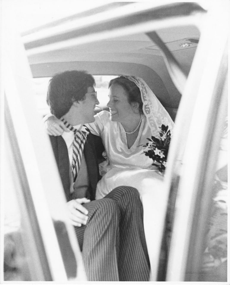1970s Wedding Photograph of Bride and Groom in Car