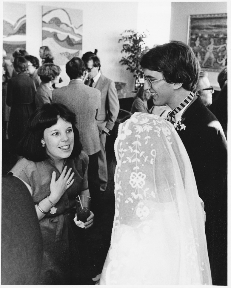 1970s Wedding Photograph of Bride and Groom Greeting Guests