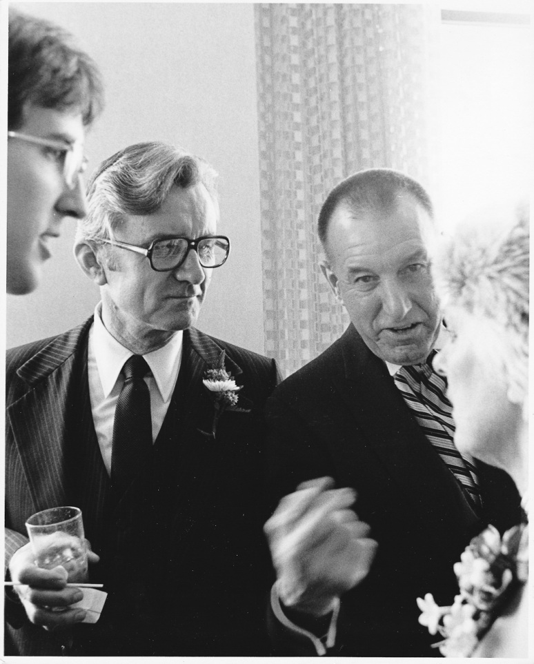 1970s Wedding Photograph of Bride and Groom's Fathers, both World War II Navy Veterans