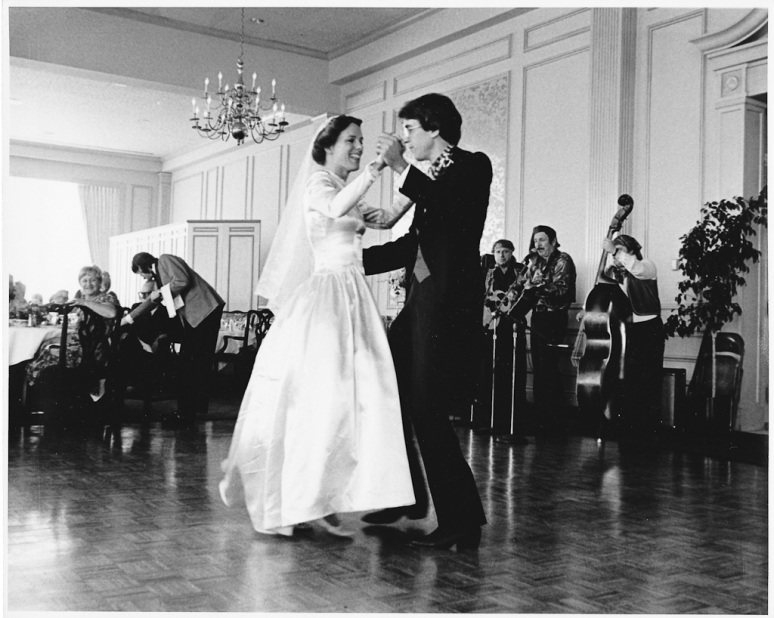 1970s Wedding Photograph of Bride and Groom Dancing