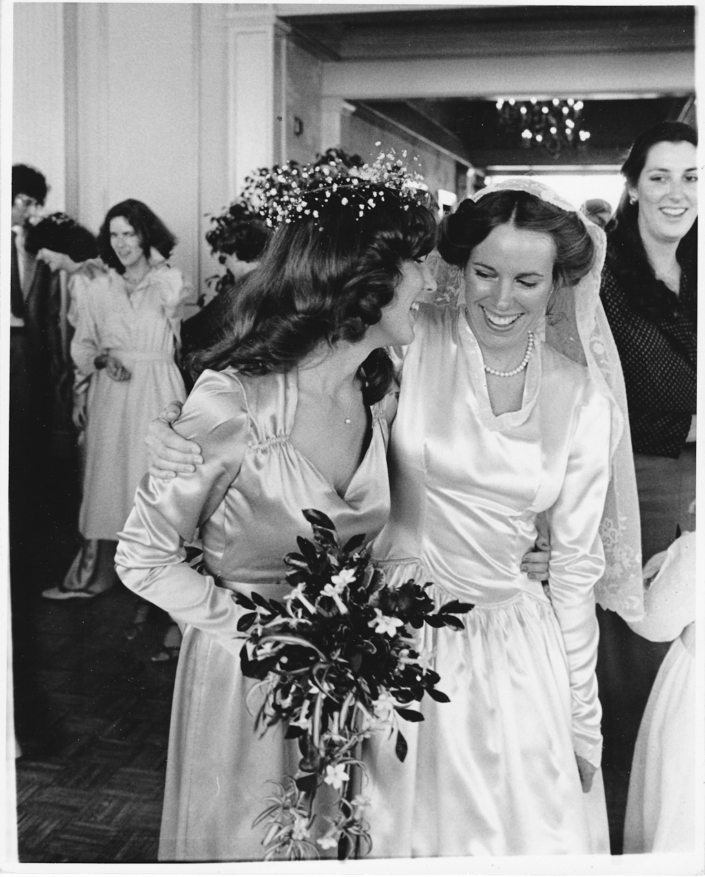 1970s Wedding Photograph of Bride and Bridesmaid at the Saint Louis Cathedral