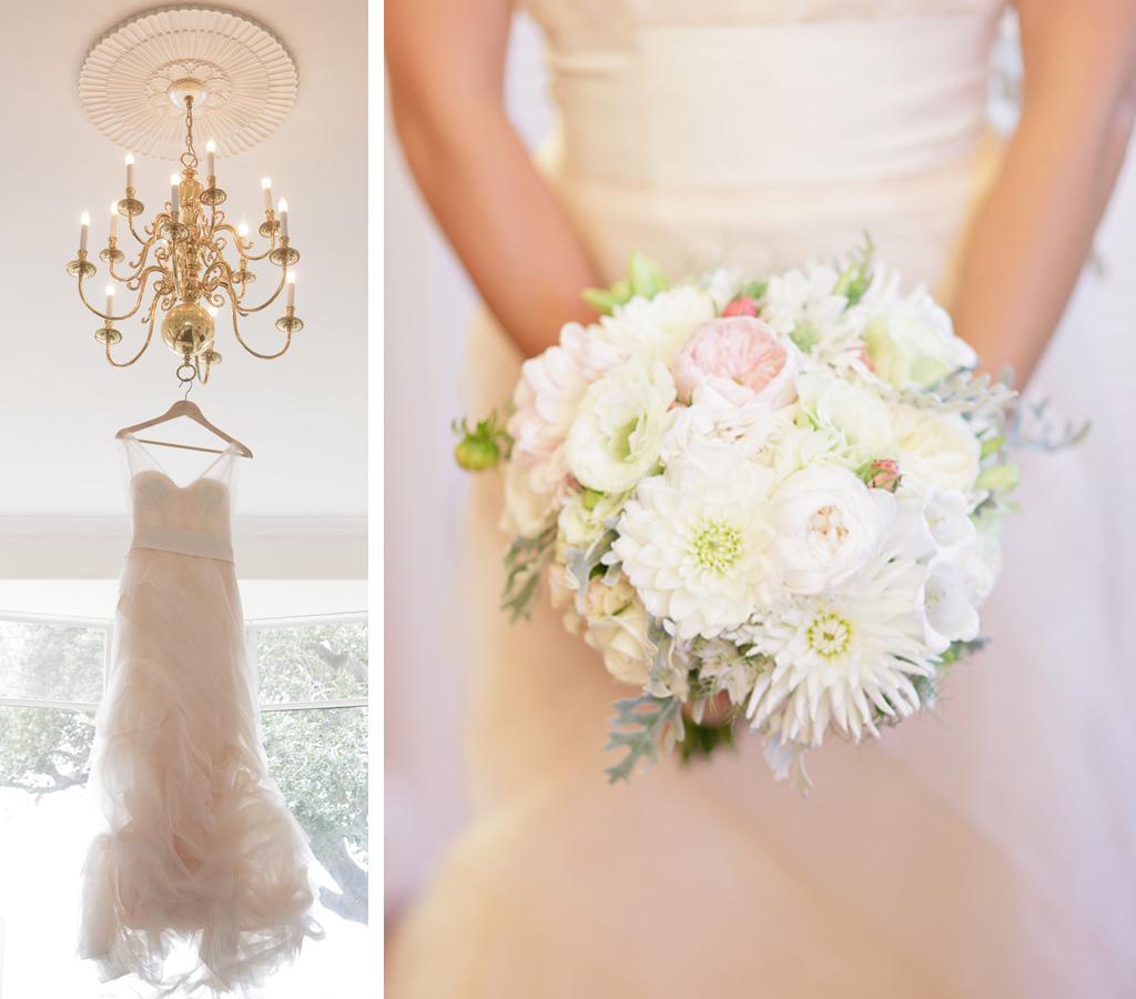 Santa Cruz Wedding Photographer Bride's Dress and Bouquet