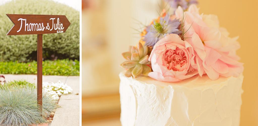 Santa Cruz Wedding Photographer Vintage Sign and Wedding Cake at Hollins House