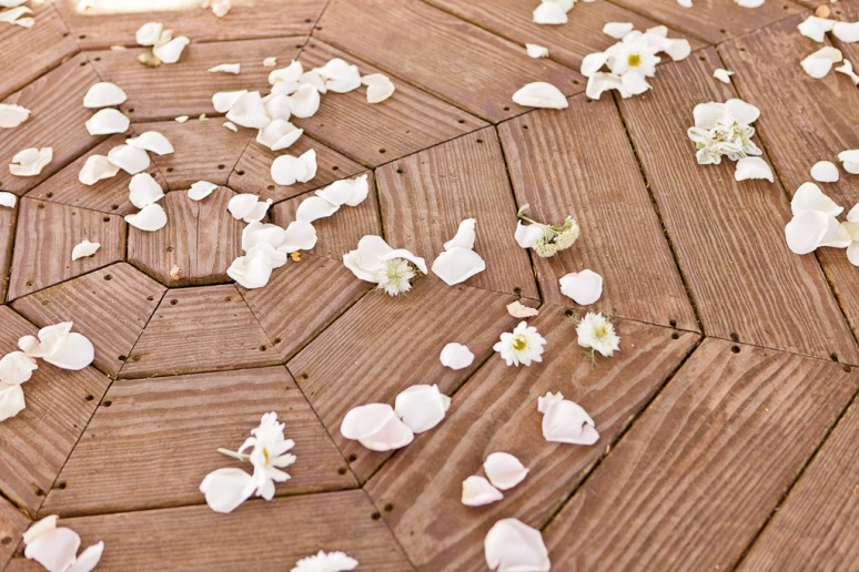 Santa Cruz Wedding Photographer Flower Petals on the gazebo floor at Hollins House