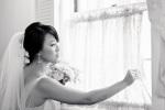 Santa Cruz Wedding Photographer Bride Looking out window of Hollins House