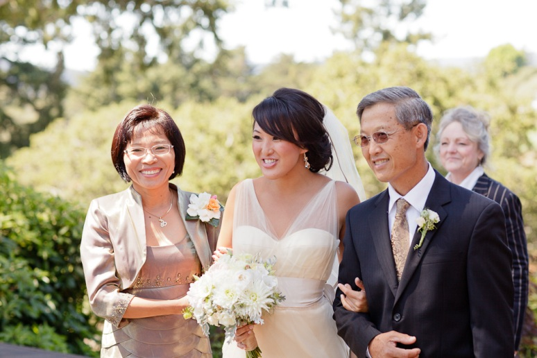 Santa Cruz Wedding Photographer Bride Walking Down Aisle with her parents at Hollins House