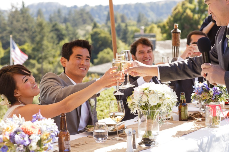 Santa Cruz Wedding Photographer Bride and Groom Toasting