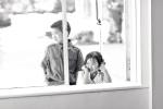 Santa Cruz Wedding Photographer children watching first dance through window