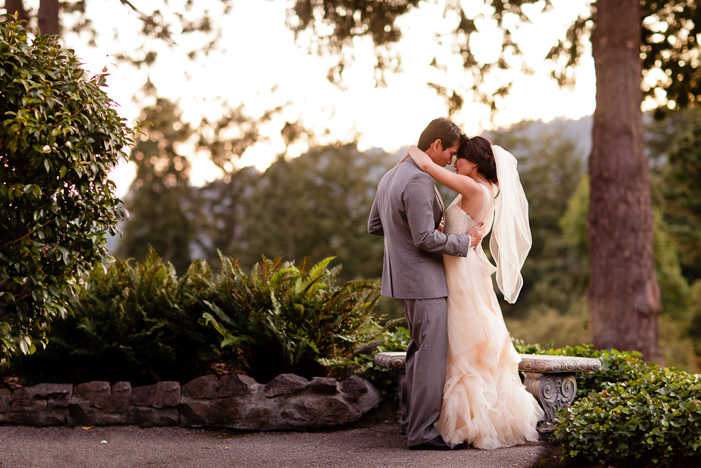 Santa Cruz Wedding Photographer Bride and Groom Embracing at Hollins House