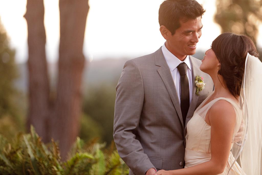 Santa Cruz Wedding Photographer Groom Smiling at Bride