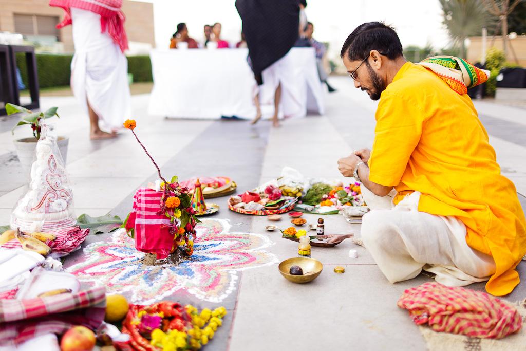 Indian Wedding Photographer Pooja Tumeric Ceremony Hindu Priest Preparing New Delhi