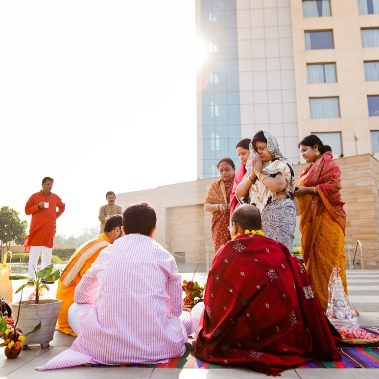 Indian Wedding Photographer Pooja Tumeric Ceremony at Hotel New Delhi