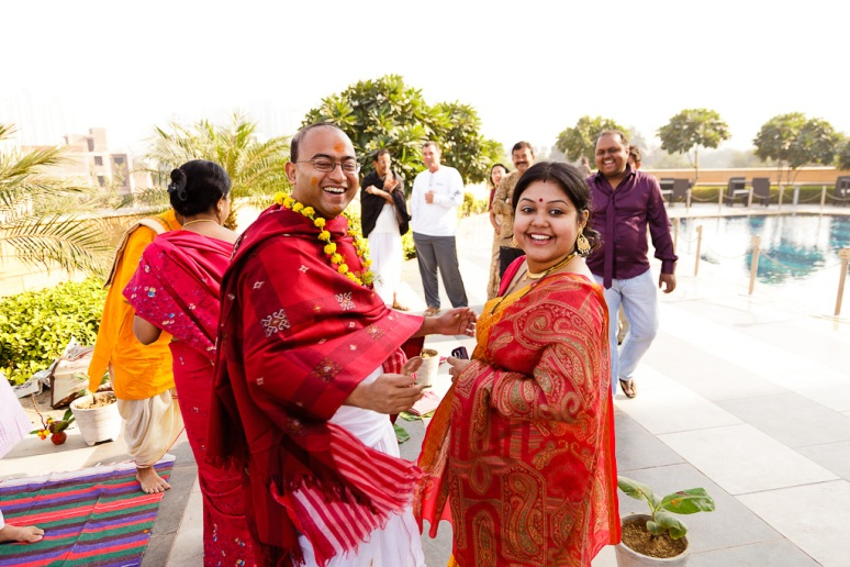 Indian Wedding Photographer Pooja Tumeric Ceremony Groom and Sister New Delhi