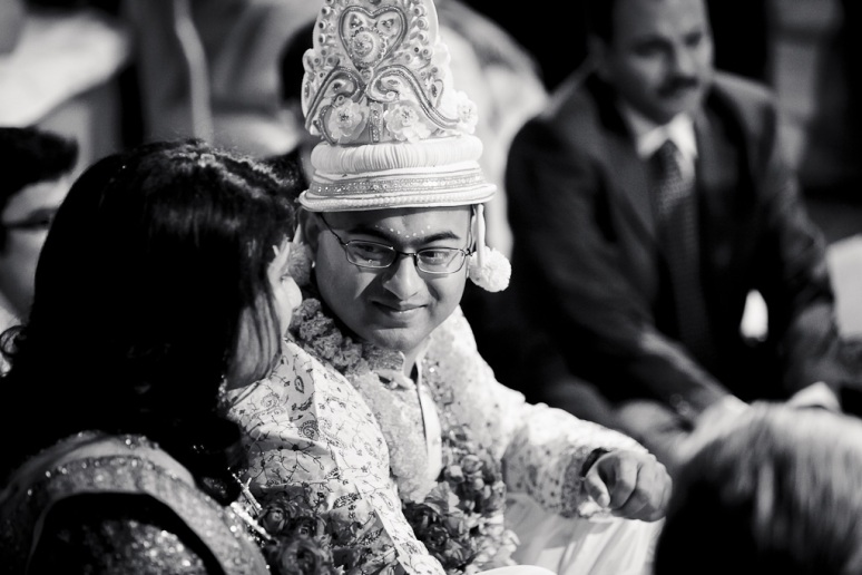 New Delhi Indian Wedding Photographer Grace Havlak Groom Smiling at Bride