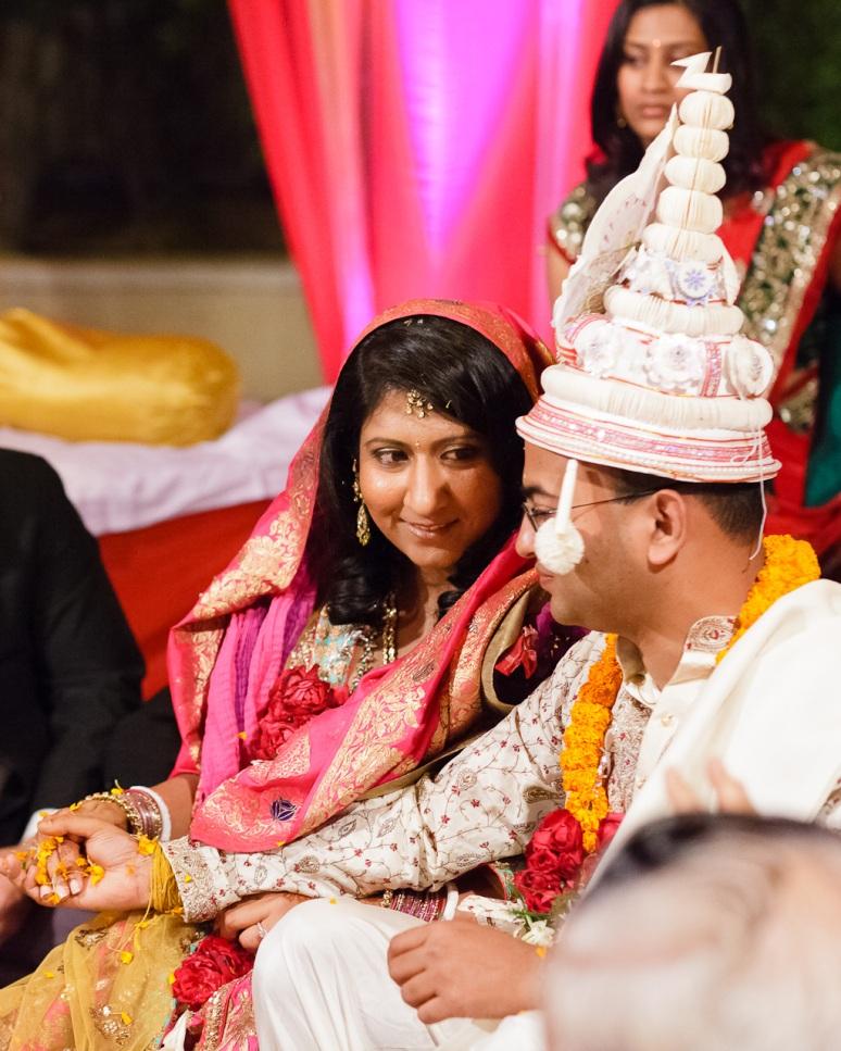 New Delhi Indian Wedding Photographer Grace Havlak Bride Smiling at Groom