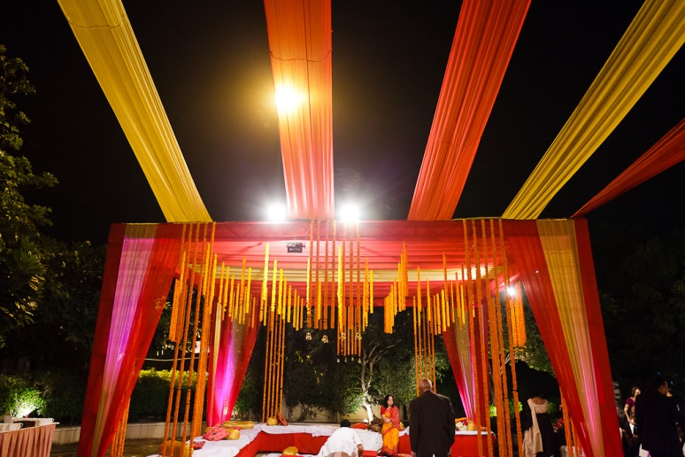 New Delhi Indian Wedding Photographer Grace Havlak Tent with Marigolds