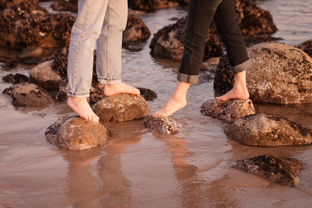 Los Angeles Engagement Session Malibu Wedding Couples Feet on Rocks