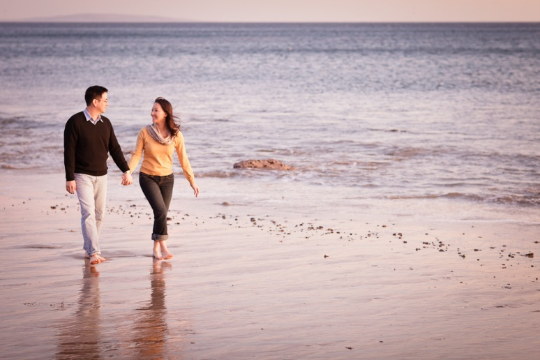 Los Angeles Engagement Session Malibu Wedding Couple Walking on Beach